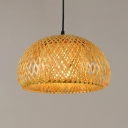 Single Head Dome Suspended Light Nordic Style Rattan Decorative Lighting Fixture in Wood
