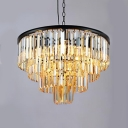 Amber Crystal Multi Tiers Suspended Light Contemporary 9 Lights Chandelier Lamp in Black Finish