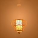 1 Light Gourd Hanging Ceiling Lamp Modernism Rattan Decorative Pendant Light in Wood