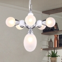 Post Modern Orb Hanging Chandelier White Glass 6 Heads Suspended Light in Chrome for Living Room