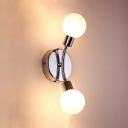 2 Lights Mini Ball Wall Mount Fixture Modernism White Glass Wall Lamp in Chrome for Bedside