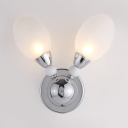 2 Heads Oval Wall Light Sconce with Frosted Glass Shade Modernism Wall Lamp for Corridor Hallway