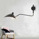 Post Modern Duckbill Wall Lamp Metallic Single Head Sconce Lighting in Black with Swing Arm