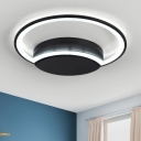 Metal Crescent Shade Ceiling Light Concise Modern Chic LED Flush Mount Lighting in Warm/White
