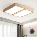 2 Rectangular Shade Indoor Lighting Fixture Natural Modern Wood LED Flushmount in White/Neutral