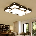 Contemporary Geometric LED Flush Light Metallic Ceiling Flush Mount in Black for Living Room