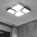 Beaded LED Flushmount with Geometric Acrylic Shade Modern Design Lighting Fixture in Warm/White