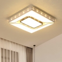 Squared LED Ceiling Lamp with Bead Decoration Contemporary Acrylic Ceiling Flush Mount in Warm/White