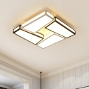 Minimalist Super-thin Flush Light with Trapezoid Metallic LED Indoor Lighting Fixture in Black and White