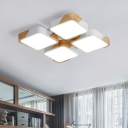Wooden Squared LED Lighting Fixture Modernism Nordic Flush Light in Warm/White for Dining Room