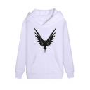 American Internet Personality Eagle Print Long Sleeve Casual Pullover Hoodie