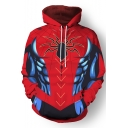 Spider Man 3D Pattern Cosplay Costume Long Sleeve Red Drawstring Hoodie
