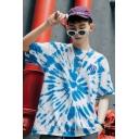 Creative Letter CRAZY GLOOMY BEAR Tie Dye Print Hip Hop Oversized Blue T-Shirt