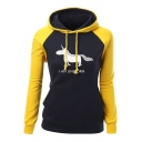 I AM UNICORN Letter Colorblocked Long Sleeve Classic-Fit Drawstring Hoodie