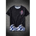 Ukiyo-e Carp Wave Fashion Printed Summer Round Neck Short Sleeve Black T-Shirt