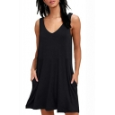 Summer Casual Loose Solid Color V-Neck Mini Swing Tank Dress with Pockets