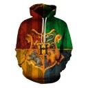 Harry Potter Hogwarts Logo Print Fashion 3D Colorblock Long Sleeve Drawstring Hoodie