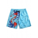 New Trendy Summer Carp Pattern Men's Quick-Dry Beach Blue Casual Swim Trunks