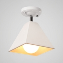 White Pyramid Shade Semi Flush Mount Modern Simple Metal 1 Head Lighting Fixture for Library Study Room