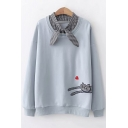 Cute Cartoon Plaid Cat Heart Print Bow-Tied Collar Long Sleeve Pullover Sweatshirt