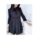 Chic Bow-Tied Collar Three-Quarter Sleeve Ruffle Trim Mini A-Line Plain Pleated Dress