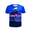 Blue 3D Sunset Big Tree Print Short Sleeve Basic Relaxed T-Shirt