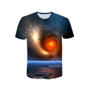 Blue 3D Galaxy Whirlpool Printed Short Sleeve Basic Loose Tee