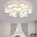 Loving Heart LED Semi Flush Mount Modernism Acrylic Multi Lights Lighting Fixture in White