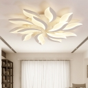 Nordic Style Leaf LED Semi Flush Mount Acrylic Multi Light Decorative Ceiling Light in White
