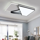 Acrylic Shade Rectangle Flush Mount Post Modern LED Ceiling Light in Warm/White for Study Room