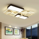 Metallic Oblong LED Flush Lighting Nordic Style Ceiling Lamp in Warm/White for Living Room