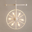 Bare Bulb Hanging Lamp with Wheel Loft Style Metallic 6 Heads Suspension Light in White
