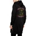 Popular Snake Logo Print Back Long Sleeve Zip Side Loose Casual Long Hoodie in Black