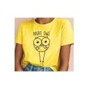 Street Fashion Night Owl Pattern Basic Short Sleeve Yellow T-Shirt