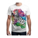 Unique 3D Geometric Cat Pattern Basic Crewneck Short Sleeve White T-Shirt