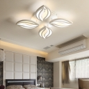 4/6 Lights Petal Semi Flush Light Contemporary Metallic LED Lighting Fixture in Warm/White/Neutral