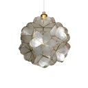 Shelly Floral Pendant Lamp Modern Chic Single Head Suspension Light in Brass for Staircase
