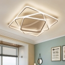 2/3 Square Ring Indoor Lighting with Asymmetry Metal Canopy Minimalist LED Flush Light in White