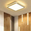 Gray Square Shape LED Flush Light Minimalist Ceiling Fixture with Acrylic Lampshade for Living Room