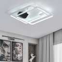 Metal 2 Square Ring LED Ceiling Fixture Modernism Flush Mount in Warm/White for Gallery