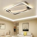 Rectangle Shape Surface Mount LED Light Modern Design Metal Flush Lighting in White for Office