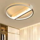 Metal Halo Ring LED Ceiling Lamp Minimalist Surface Mount Ceiling Light in Black and White