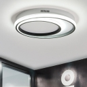 Circular Ring Flush Light Simple Concise Metal 2/3/4/5 Lights LED Ceiling Light in Black