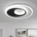 Metallic Circular Lighting Fixture Nordic Style LED Flush Mount in Black and White for Dining Room
