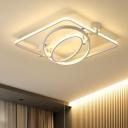 Oval and Square LED Ceiling Lamp Minimalist Metallic Art Deco Semi Flush Mount in Warm/White