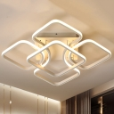 Ultra Thin Surface Mount LED Light with Geometric Pattern Minimalist Metallic Semi Flush Light in White