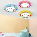 Blue/Pink/Yellow Flower Ceiling Light with Smile Acrylic LED Flush Light Fixture for Kindergarten