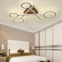Brown Scissors Semi Ceiling Flush Mount with Triangle Canopy Modern Metallic LED Lighting Fixture