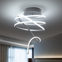 Metallic Swirl LED Ceiling Lamp Post Modern Art Deco Semi Flush Light Fixture in White
