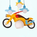 Motorcycle 4 Heads Pendant Lamp with Glass Shade Blue Suspension Light for Boys Room